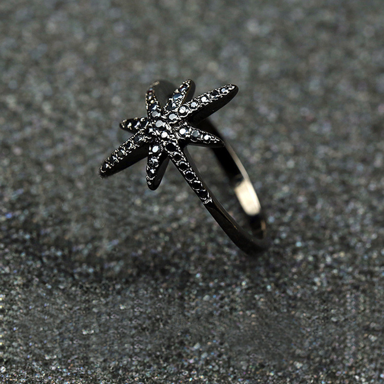 Fashion Jewelry 925 Sterling Silver Black Plated AAA With Black Stone CZ Personalized Star Party Ring for Women SJYPR097-B