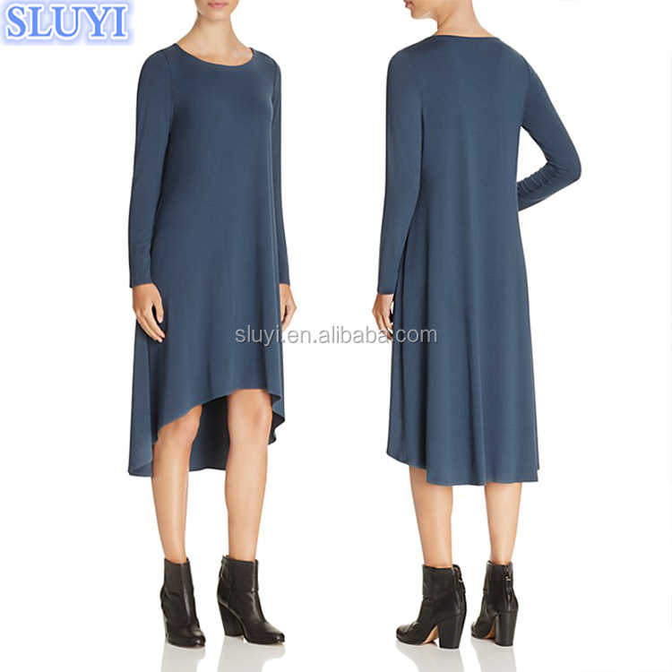 Wholesale women dresses,fashion new style long sleeve navy blue knitted high low evening dress sewing patterns