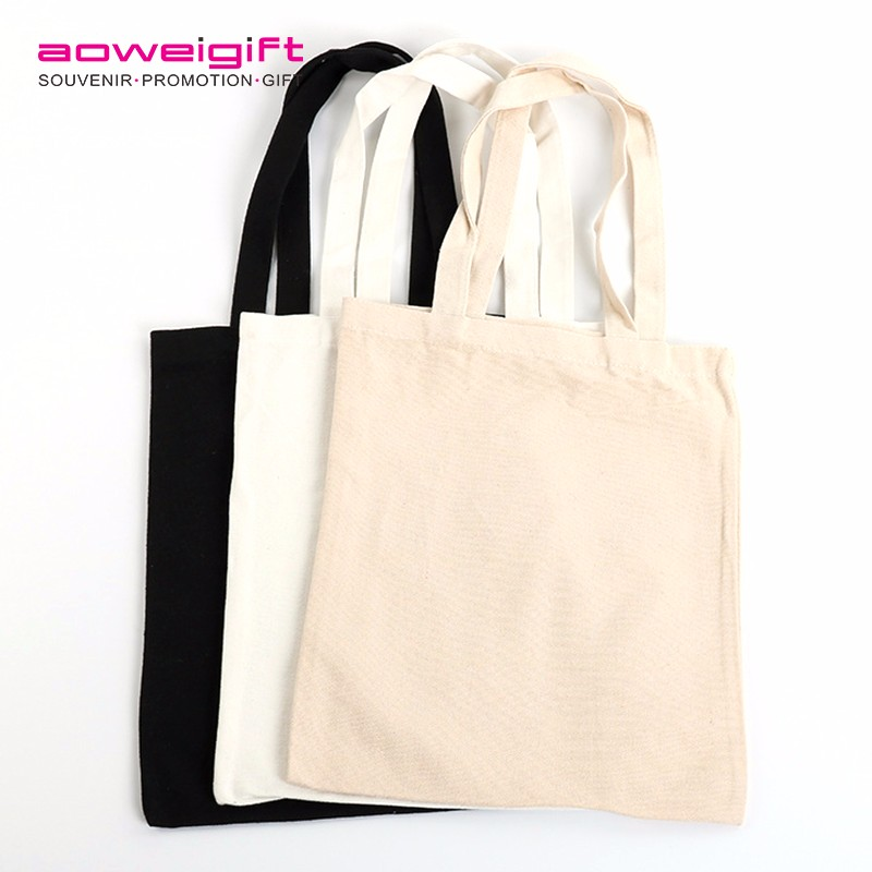 Bespoke Plain Tote Bag Cotton Shopping Bag Black Blank Canvas Bag For Promotion