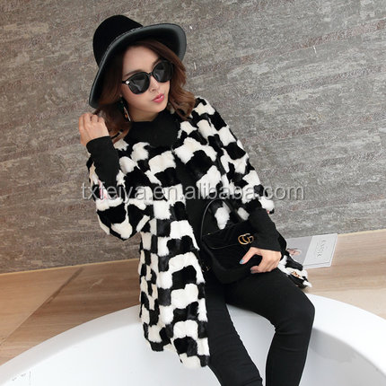 Fashion Winter Black& White Jacket Wear Real Mink Fur Coat for Women