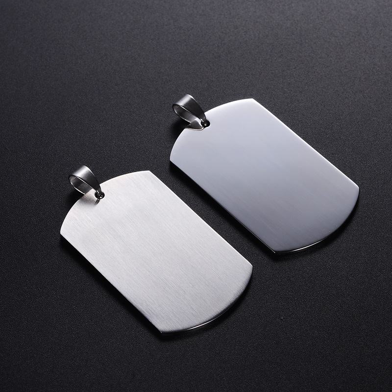 Wholesale Customized Laser Engraved Logo Necklace Stainless Steel Silver Rectangle Blank Dogtag <strong>Pendant</strong>