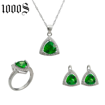 fashion 925 sterling silver jewelry set with cubic zircon
