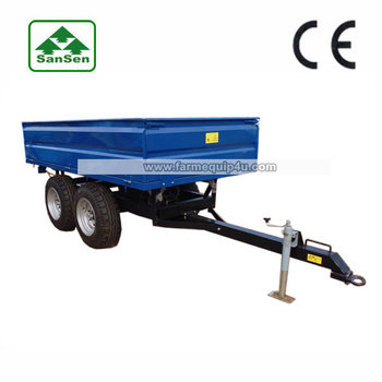 2000kgs 3000kgs end dump trailer with four wheel single axle hydraulic rear tipper used in agriculture transport box