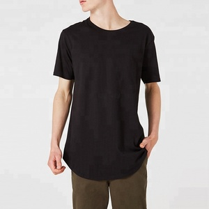 Simple Curved Tall Tee Short Sleeves Black Longline T-shirts For Men
