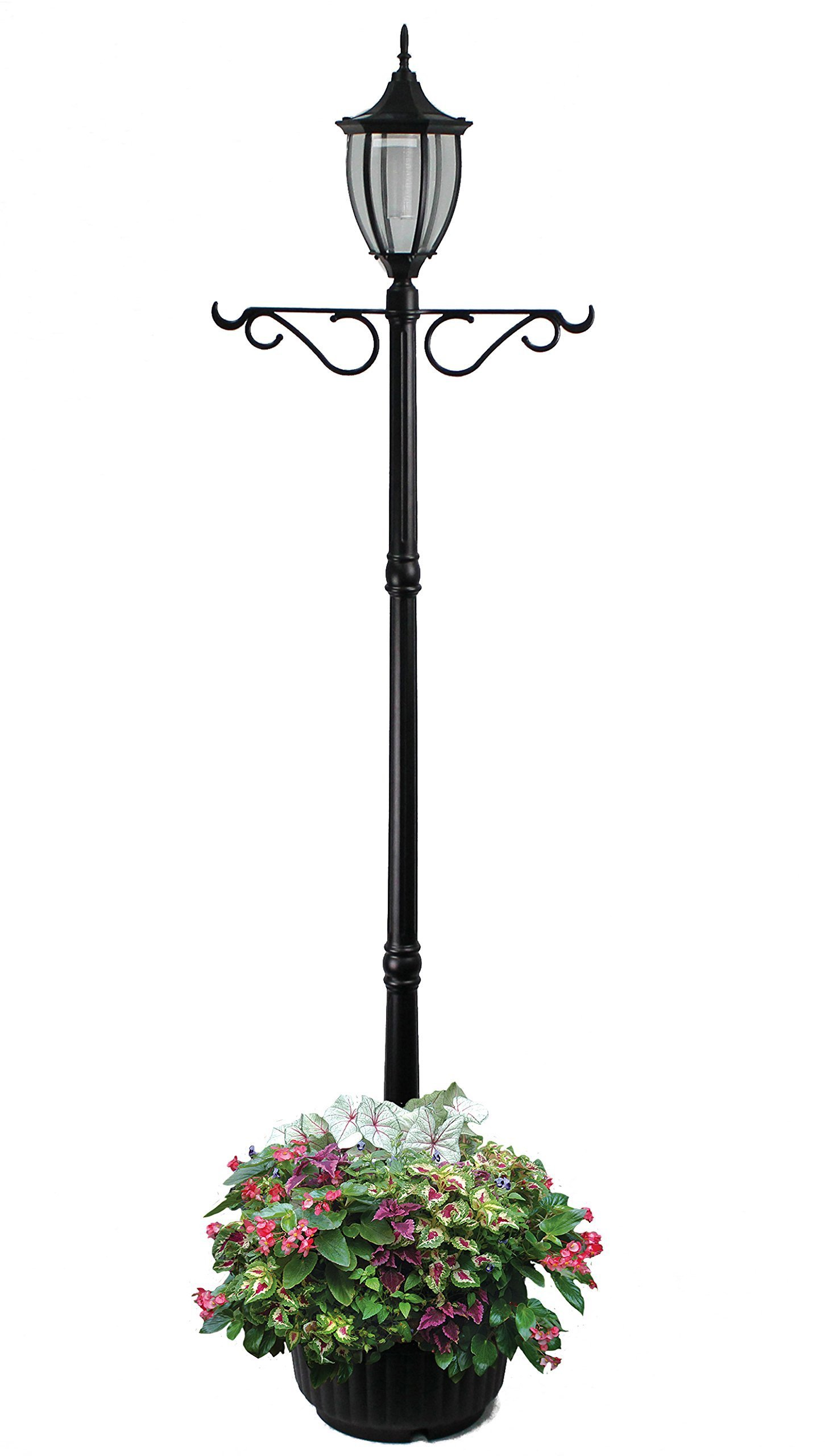 Sun-Ray 312066 Crestmont Single-Head Solar Lamp Post and Planter with Plant Hanger, 7', Black, Batteries Included