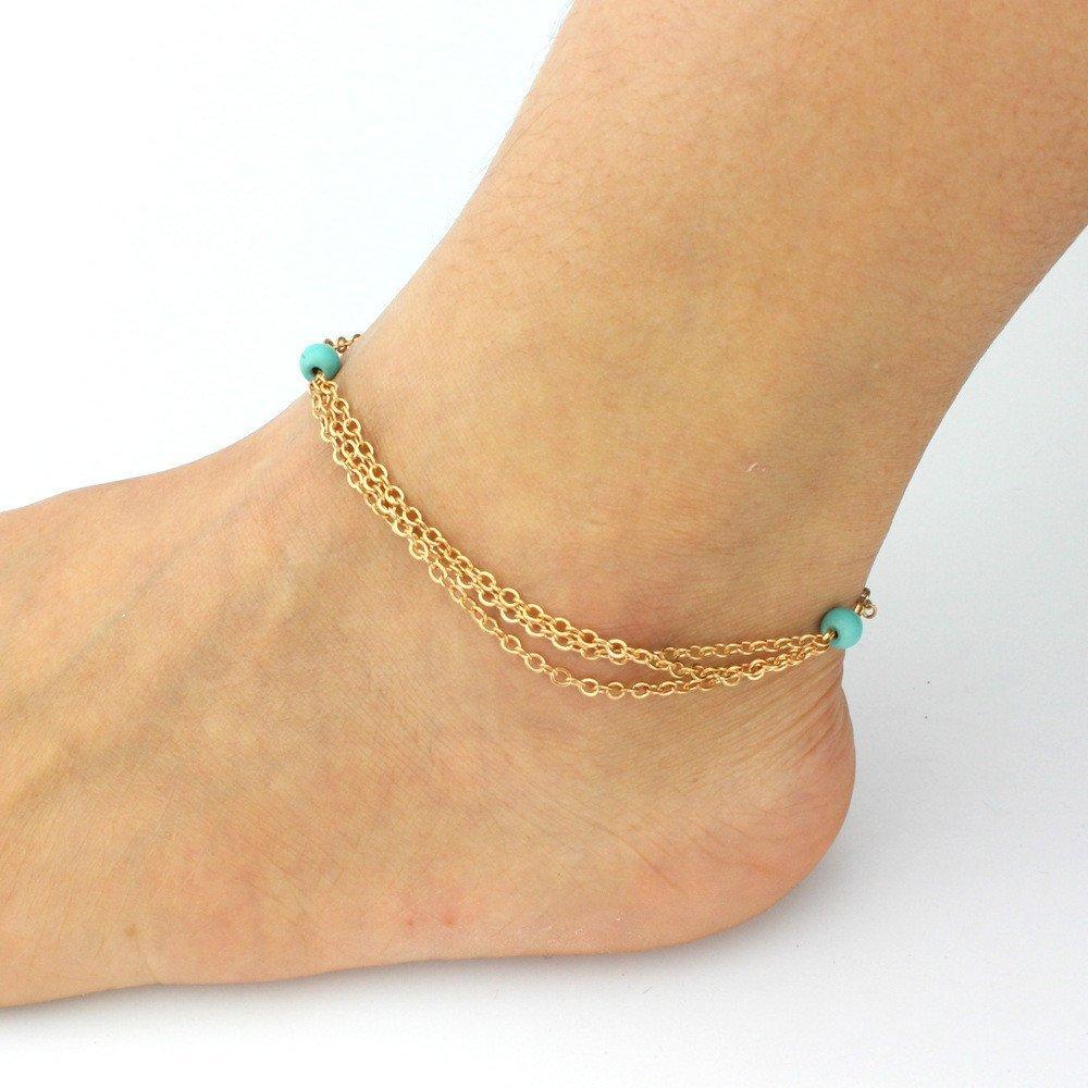 HUSUP®: Multi-layer Tassel Turquoise Bead Anklet