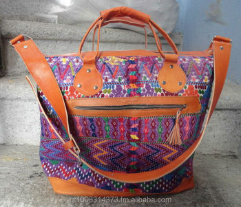 Leather Guatemala Weekender Huipil Bag