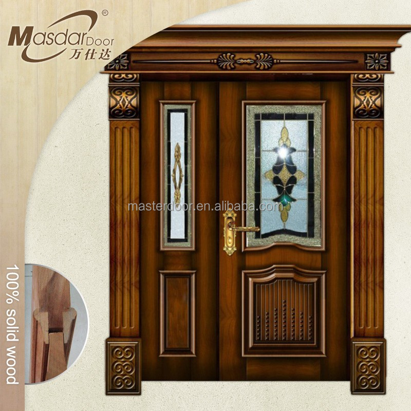 Hot exterior mother and son wooden door with glass