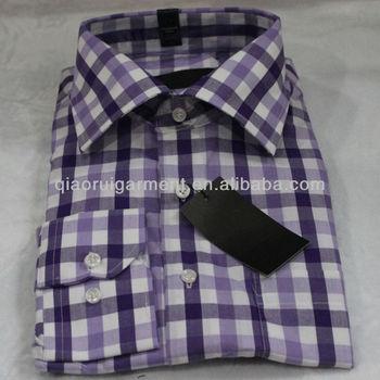 Geruit Overhemd Heren.Heren Lange Mouw Paars Katoen Geruit Overhemd Buy Heren Paars