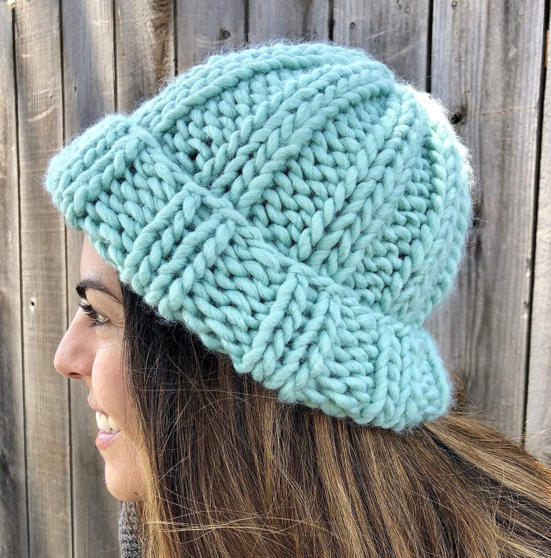 331f00e721ac3 Get Quotations · Green Chunky Oversized Beanie Hat Handmade Merino Wool  Acrylic with Brim