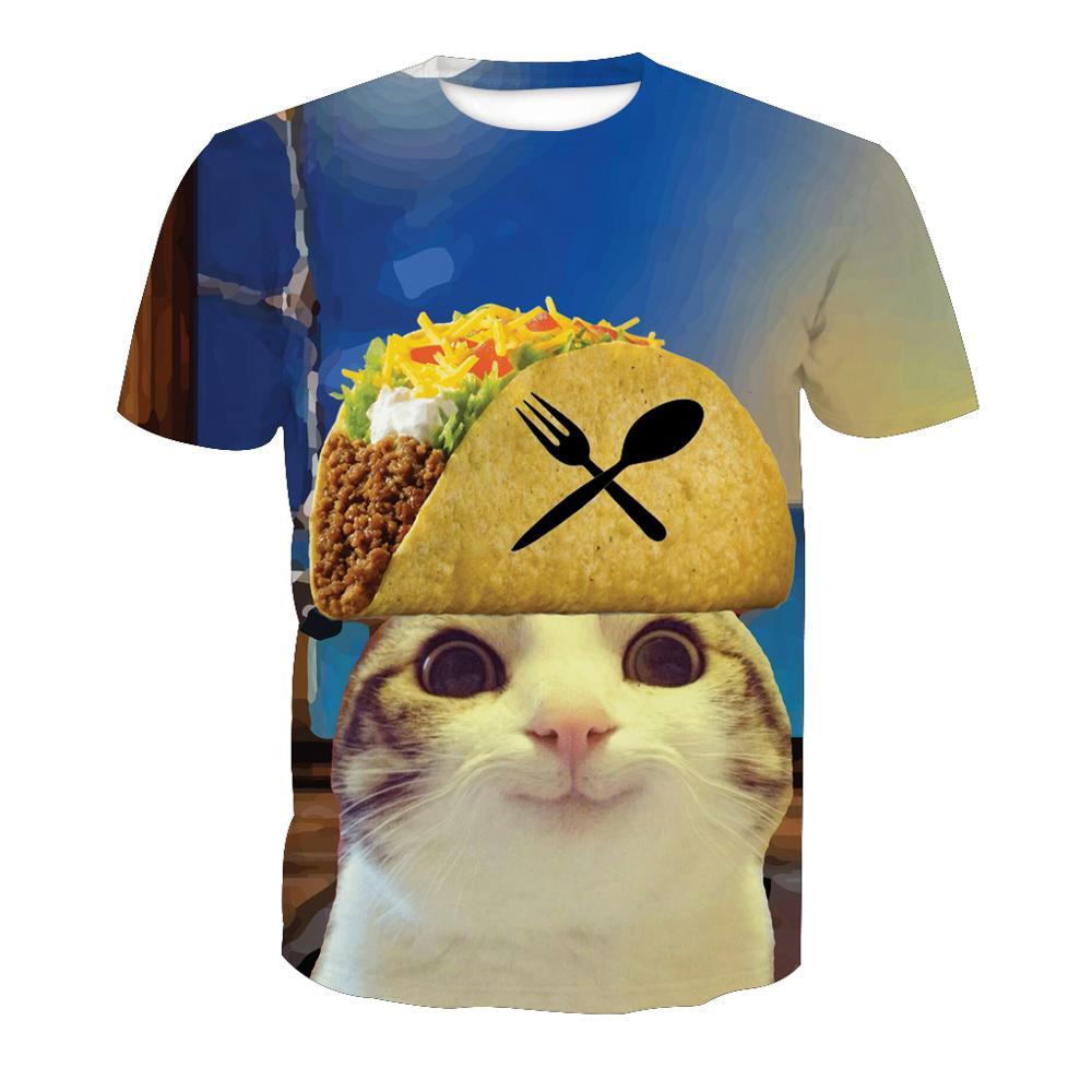 9d0c92208f Muestras Gratis gato 3D impreso cuello diseño poliéster camisetas para  impresión por sublimación