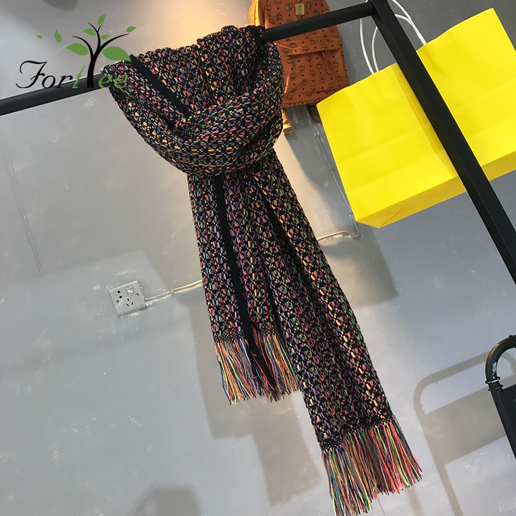 Custom knit woolen yarn fashion square scarf hijab