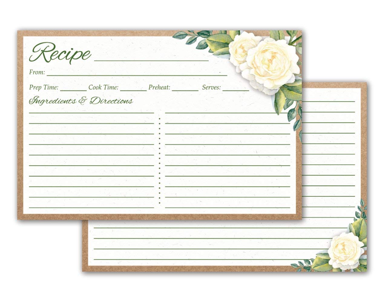 Crown Bee Printworks Recipe Cards 4x6 Double Sided (Floral) 50/set - Thick Cardstock, Made in the USA