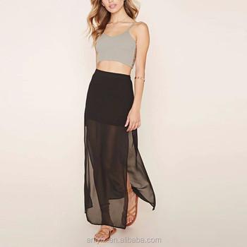 De estilo occidental de la pierna abierta sexy largo faldas sexy negro  transparente de gasa faldas 7f1649518130