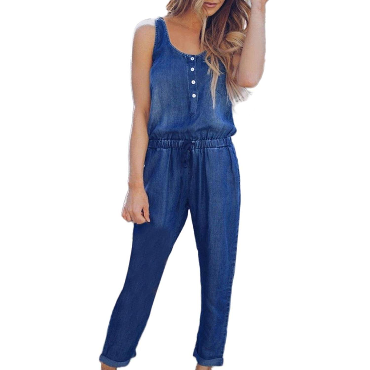 f325a4a1f0f Get Quotations · Gyoume Jeans Demin Jumpsuit