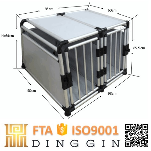 Aluminum dog crate for traveling