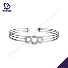 Shiny silver adjustable jewelry bracelets with ring