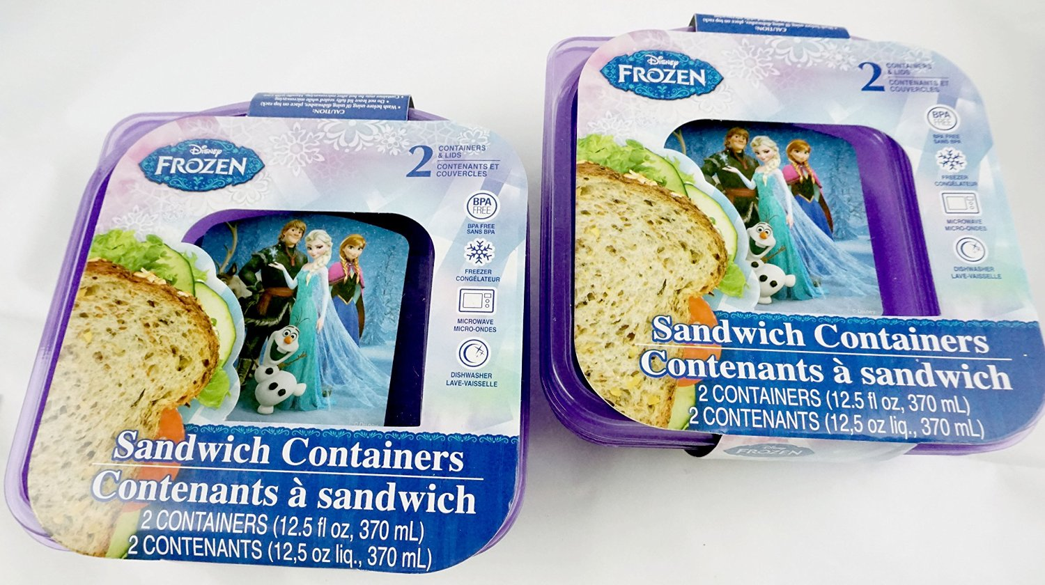 Disney Frozen Sandwich Containers 2 Pack Containing 2 Containers Each Featuring Elsa, Anna, Kristoff, Hans, Olaf and Sven - 4 Total Containers