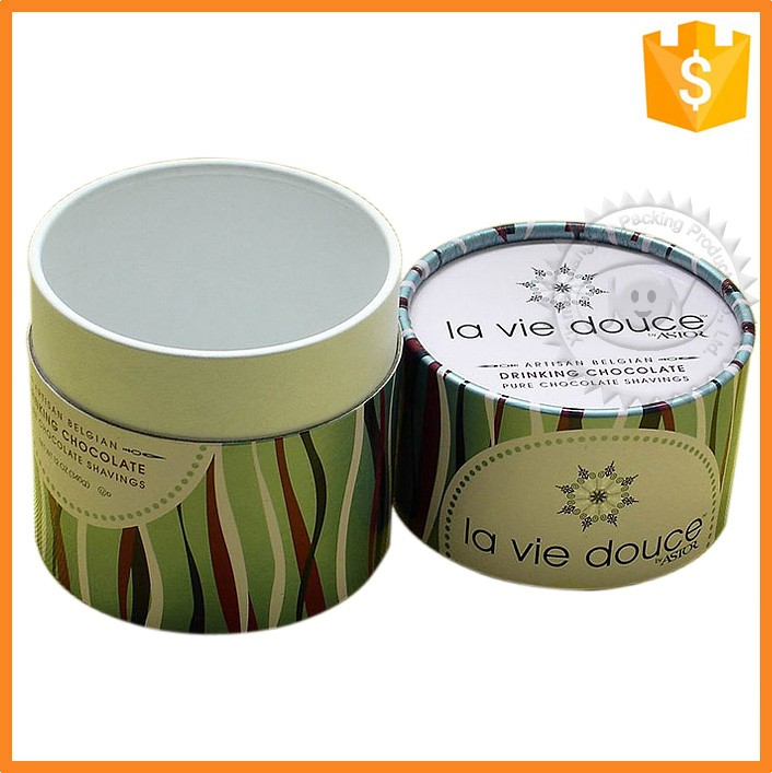 Hight quality customized logo print cylindrical shape paper tea box