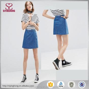 3fe97bee75 Latest skirt design picture for women fancy skirt top designs short denim  Jeans skirt
