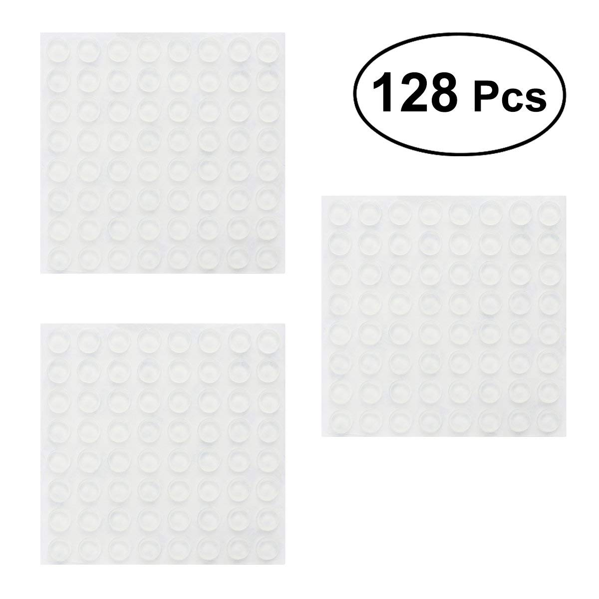 ULTNICE Rubber Door Stopper Bumpers 128pcs Self-adhesive Door Stoppers Wall Protectors for Speakers Electronics Furniture (12x4mm)