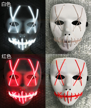 Sound Activated EL Mask Flashing Kids and Adult Party Toy for  halloween EL Battery Operated  LED PLastic  mask