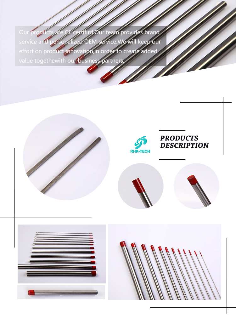 Tungsten electrode for tig welding WT10 with high quality