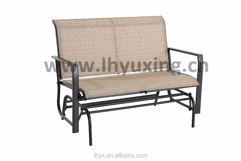 oversized metal sling glider with 2 seats, 2 seaters sling rocking glider chair,patio swing rocking chair