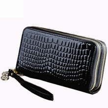 Hot sale big capacity ladies long purses high quality patent leather genuine women wallets luxury double zipper day clutch Black