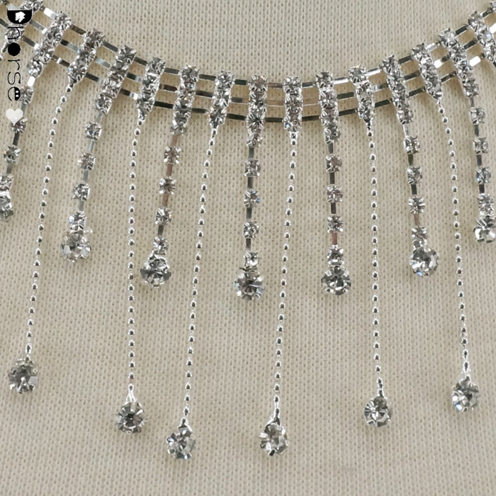 Hot sell 6cm silver color rhinestone fringe crystal chain for boot