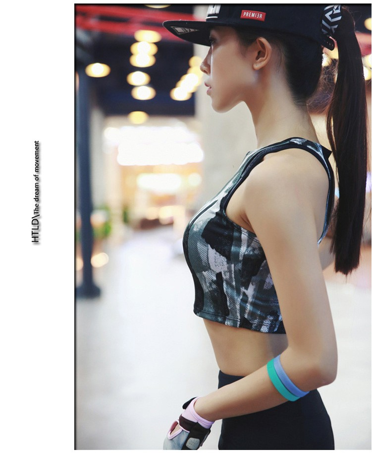 Camo Women Quick Dry Sports Vest Fitness and Yoga Wear Printed Running Tank Top