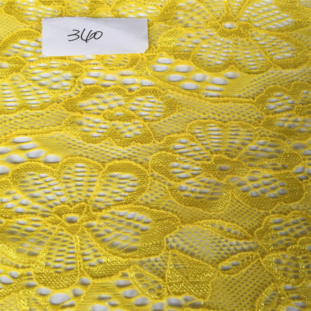 Fancy African Flower Design of Nylon Spandex Lace Fabric Ready Goods
