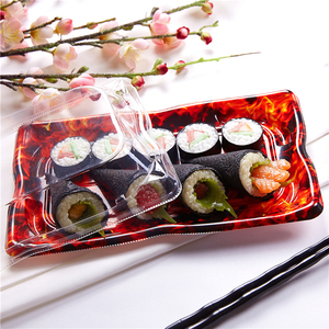 Wholesale sushi dish disposable to go container restaurant food sushi packaging box,takeaway plastic food tray clear with lid