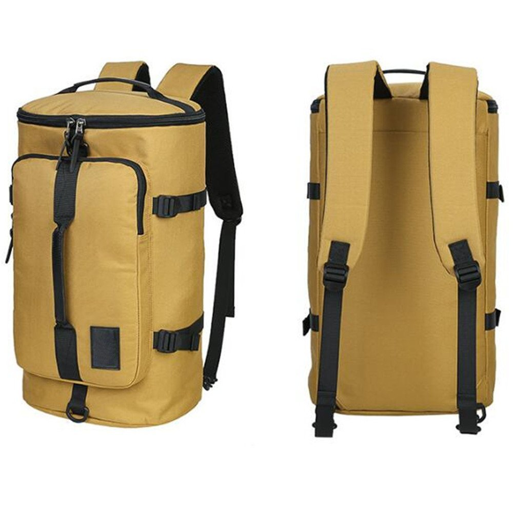 Traveling Bag Yellow,Duffel Cylinder Canvas Travel Backpack for Men Hiking Luggage Weekend Bags