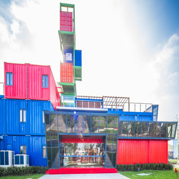 Steel structure hotel building with modular containers for living