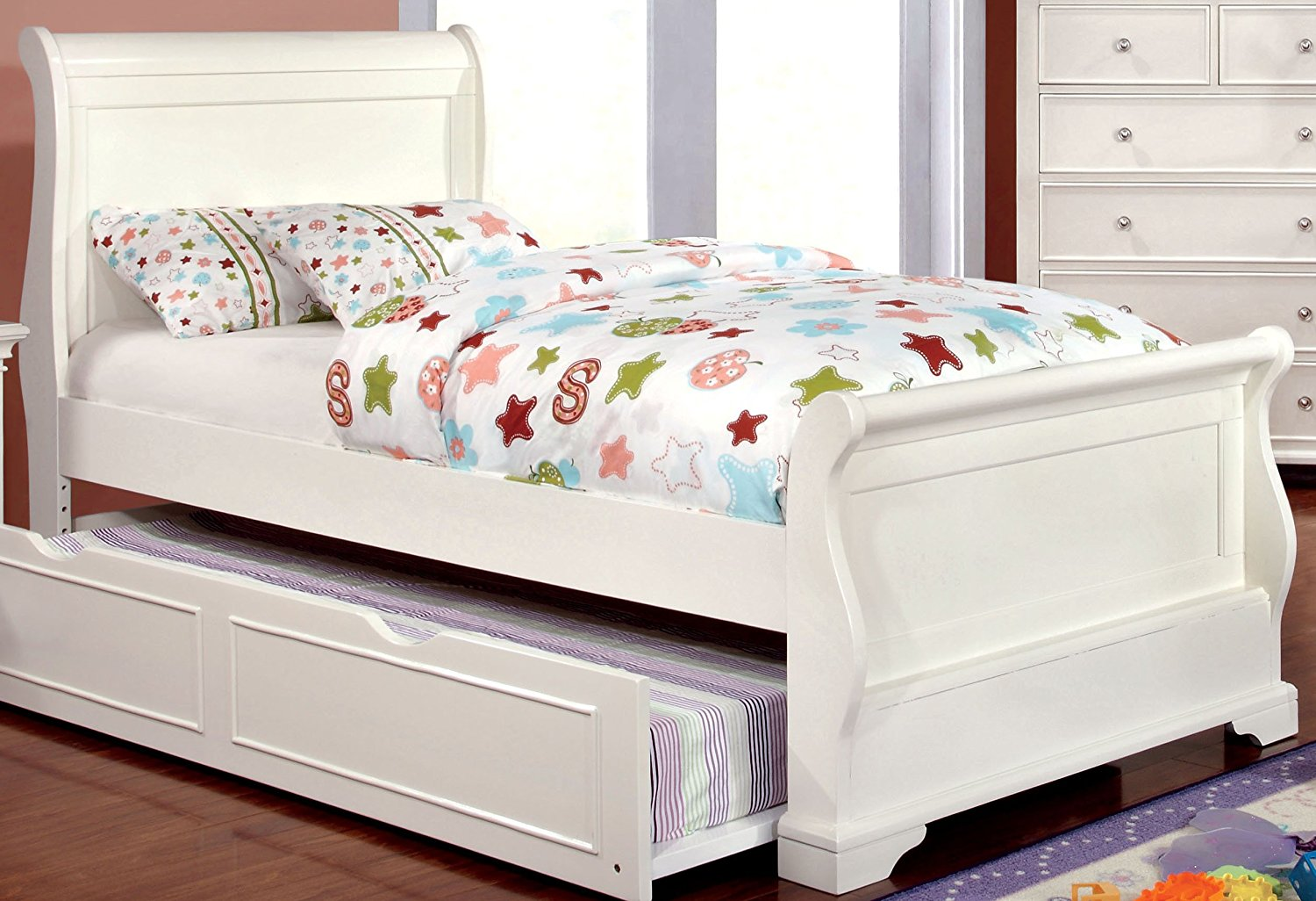Furniture of America Maggie Transitional Youth Sleigh Bed, White, Full