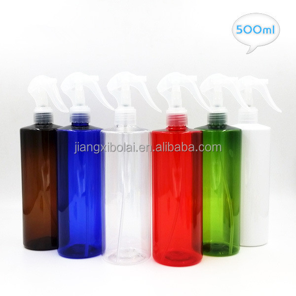 500ml Flat Shoulder PET Plastic Mist Triger Spray Bottle for Garden Hair Salon Toilet Use