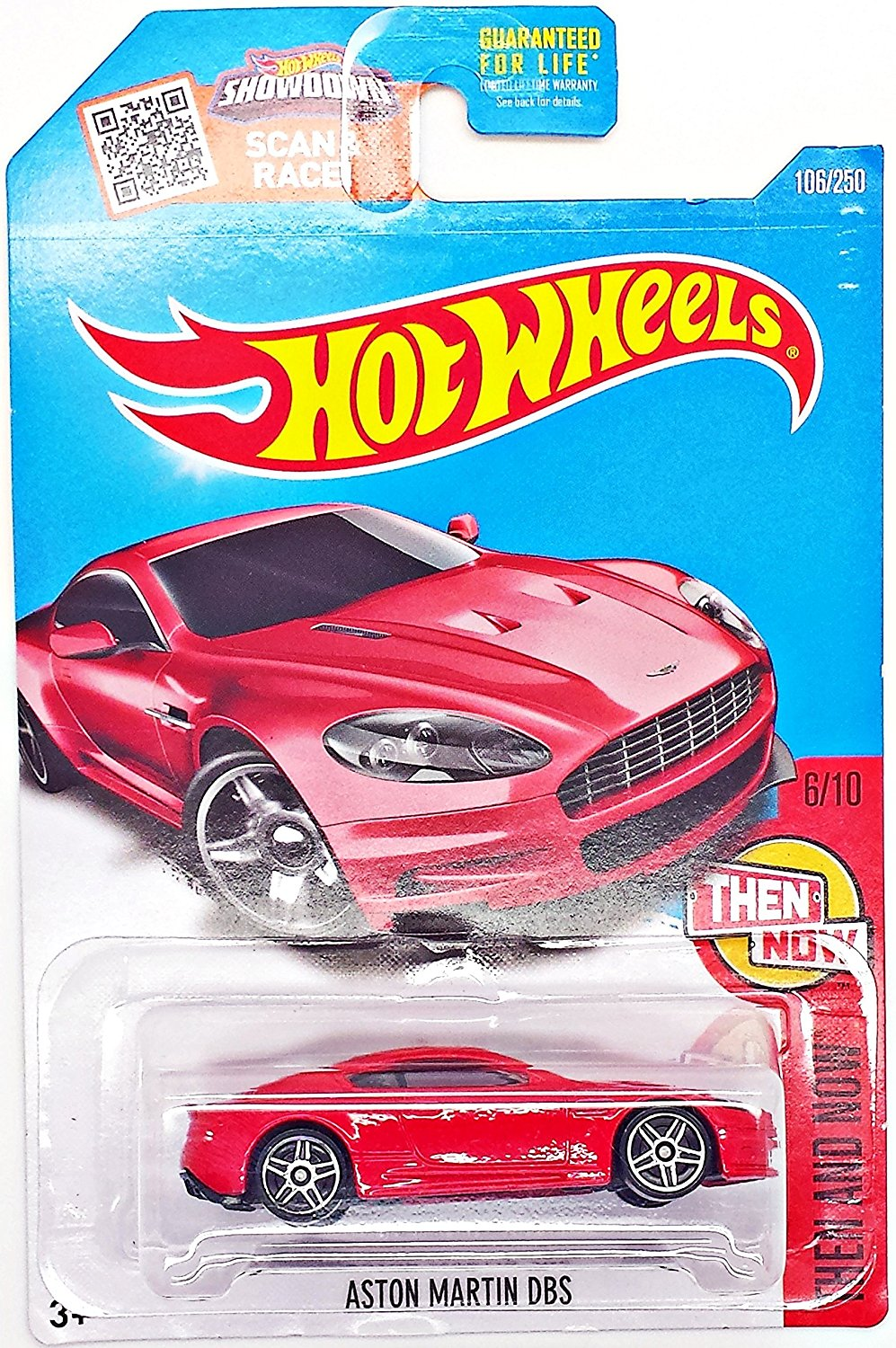 ASTON MARTIN DBS Hot Wheels 2016 Then and Now Series Red Aston 1:64 Scale Collectible Die Cast Metal Toy Car Model #6/10 on International Long Card