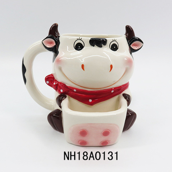Cookie Mug Cup with Biscuit Holder Dunk Mug, 3D Cow Shape