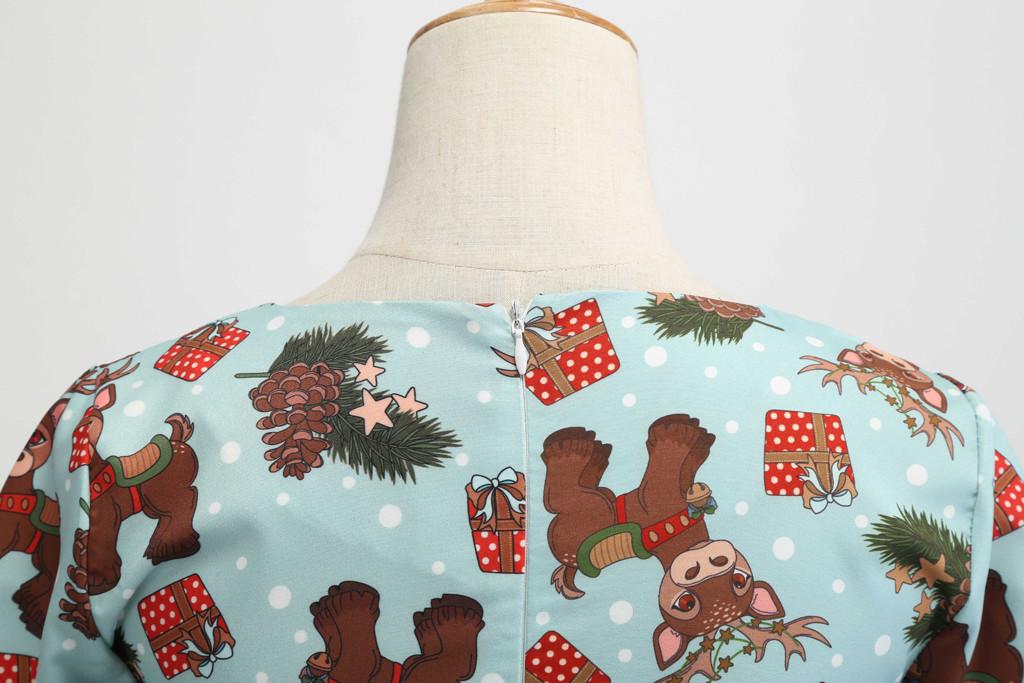 Women Dresses Casual Cute Three Quarter Sleeve O Neck Christmas Elk Vintage Gown Party Dress Kerst Jurk Dames