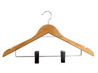 Hongkang Dark Luxury Wooden Suit Hanger With Metal Clips