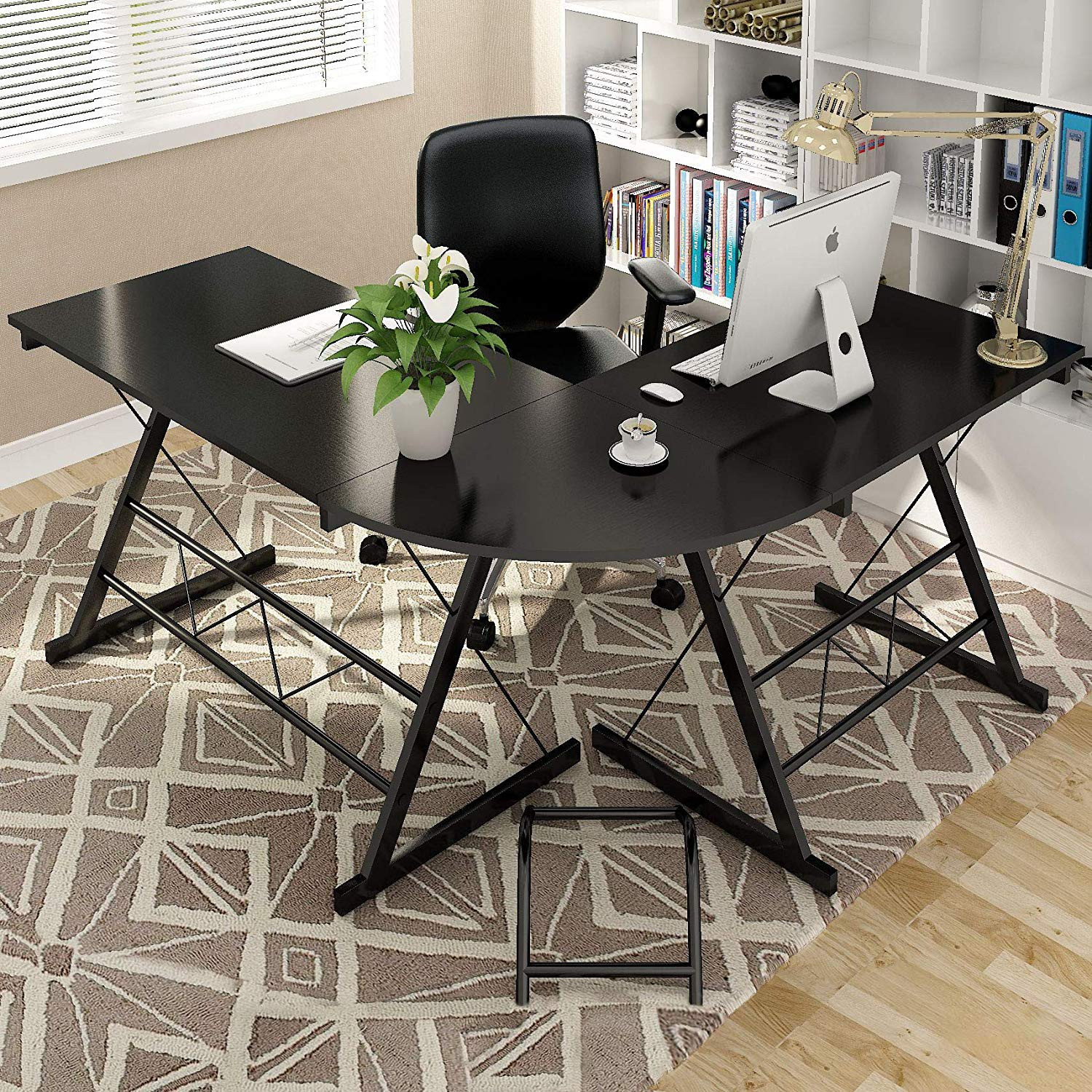 NsDirect L Shaped Computer Desk - Office Desk - Workstation Desk - PC Laptop Table - 3-Piece Corner Table - Home Office and Professional Use - CPU Stand Included