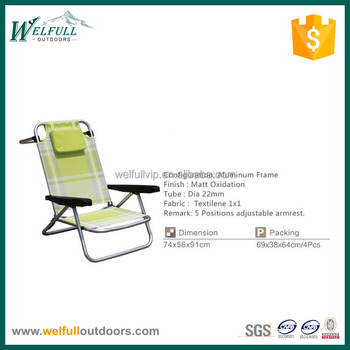 Camping Furniture Multi Position Folding Beach Bed Chair