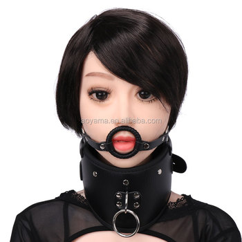Sexy Neck Collar With Mouth O Ring Gagged Pvc Leather Restraint Bondage