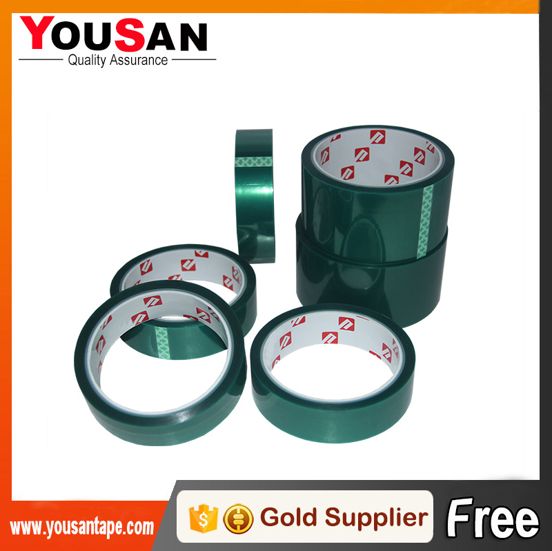 High Temp Self Adhesive PET Green Tape With Silicone Adhesive , Heat Protection and Powder Spray Paint Masking