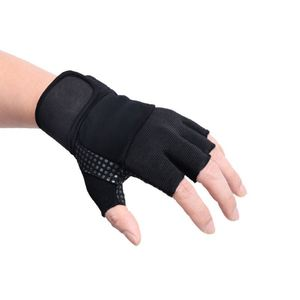 finger out Poly football half finger knit gloves