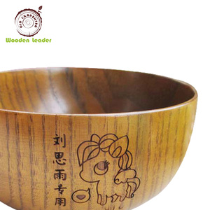Restaurant supplies food grade hand carved customized logo teak acacia wood bowls
