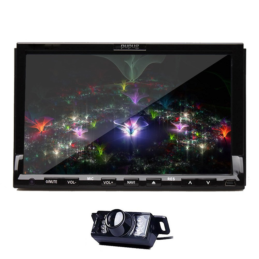 Christmas Sale!!! Multi-Media PUPUG In Dash Double avi DIN Car Dvd Player with Touch Touch Screen Screen Lcd Monitor, 7Inch Video Headunit Autoradio Receiver GPS Navigation Bluetooth CAR RDS D