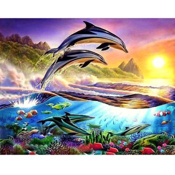 Hayvan Deniz Manzara Duvar Dekorasyon Için Tuval ön Baskılı Boya