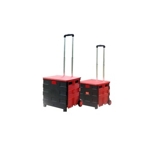 Wholesale Foldable plastic mobile food cart carry folding hand push shopping trolley